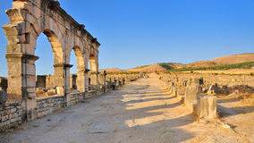 De ruïnes van Volubilis in Marokko Royalty-vrije Stock Foto