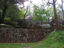De ru?nes van Royal Palace bovenop leeuw schommelen, Sigiriya, Sri Lanka, Unesco-de Plaats van de werelderfenis royalty-vrije stock foto