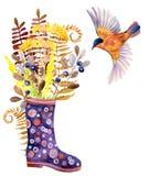De rubberlaarzen van de waterverfstip met weidekruiden en vogel Stock Afbeelding