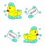 De rubbervector van Ducky en van de zeep Stock Fotografie