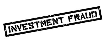 De rubberzegel van de investeringsfraude Stock Foto's