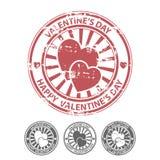 De rubberzegel van Grunge met twee harten Stock Afbeelding