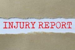 De rubriek van het verwondingsrapport stock foto