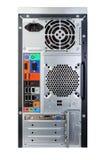 De rug van een bureaucomputer met motherboard. stock fotografie