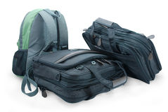 De rugzak en de koffers van de bagage Stock Foto's