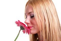 De ruikende bloem van het meisje Stock Afbeelding