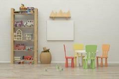 De ruimte binnenlands beeld van het jonge geitjesspel het 3d teruggeven Stock Fotografie