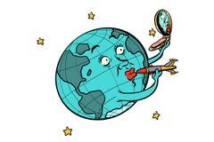 De ruimte en het Aardeconcept isoleren op witte achtergrond royalty-vrije illustratie
