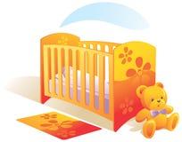 De ruimte van de baby, kinderdagverblijf, wieg, aan Stock Foto's