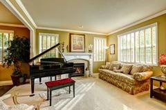 De ruimte van de luxefamilie met grote piano Royalty-vrije Stock Afbeeldingen