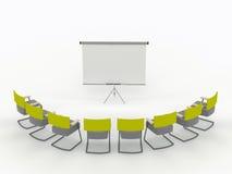 De ruimte van de opleiding met tellersraad en stoelen Stock Afbeeldingen