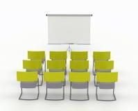 De ruimte van de opleiding met tellersraad en stoelen Stock Foto