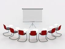 De ruimte van de opleiding met tellersraad en stoelen
