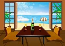 De ruimte van het hotel en strandlandschap Stock Afbeelding