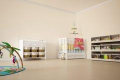 De ruimte van het jonge geitjesspel met bed Stock Foto