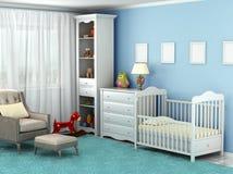 De ruimte van het kind, waar er een stoel, speelgoed, meubilair, bevloering is, vector illustratie