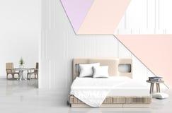 De ruimte van het pastelkleurbed Stock Foto's