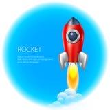 De ruimte van het raketpictogram, vector, illustratie, brand, symbool, vlam, beeldverhaal, Stock Foto's