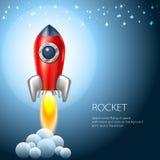 De ruimte van het raketpictogram, vector, illustratie, brand, symbool, vlam, beeldverhaal, Stock Foto