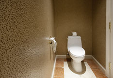De ruimte van het toilet met telefoon Stock Foto