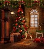 De ruimte van Kerstmis met speelgoed Stock Afbeelding