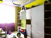 Modieuze blauwe slaapkamer voor jongen stock afbeelding afbeelding 28023917 - Lay outs ruimte van de jongen ...