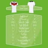 De Ruimte van voetbalteam player charts editable with voor Tekst Stock Foto