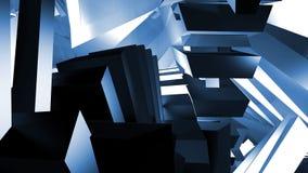 De ruimte wordt gevuld met geometrische vormen blauwe kleur Stock Fotografie