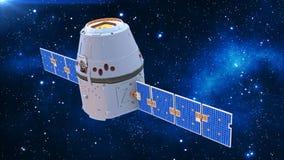De ruimtecapsule, communicatiesatelliet met zonnepanelen in kosmos met sterren op de 3D achtergrond, geeft terug royalty-vrije illustratie