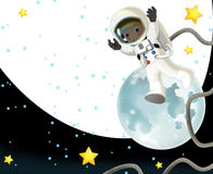 De ruimtereis - gelukkige en grappige stemming - illustratie voor de kinderen Royalty-vrije Stock Foto's