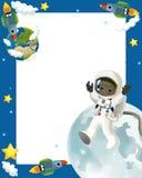 De ruimtereis - gelukkige en grappige stemming - illustratie voor de kinderen Stock Foto