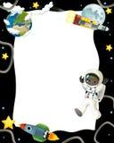 De ruimtereis - gelukkige en grappige stemming - illustratie voor de kinderen Stock Afbeelding