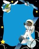 De ruimtereis - gelukkige en grappige stemming - illustratie voor de kinderen Royalty-vrije Stock Afbeeldingen