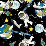 De ruimtereis - gelukkige en grappige stemming - illustratie voor de kinderen Royalty-vrije Stock Afbeelding