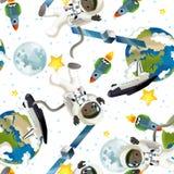 De ruimtereis - gelukkige en grappige stemming - illustratie voor de kinderen Stock Foto's