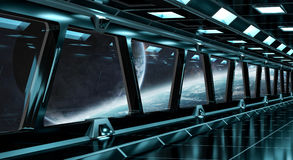 De ruimteschipgang met mening over ver 3D planetensysteem geeft terug Stock Afbeeldingen
