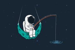 De ruimtevaarder zit op maan met een hengel royalty-vrije illustratie