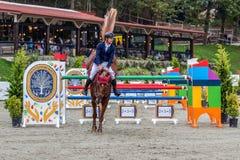 De ruiter en het paard bij tonen het springen Royalty-vrije Stock Foto