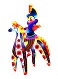 De ruiter op een paard Dymkovostuk speelgoed Stock Fotografie