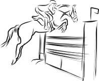 De ruiter op paard in het springen toont Stock Afbeelding