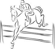 De ruiter op paard in het springen toont Stock Foto