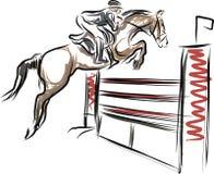 De ruiter op paard in het springen toont Royalty-vrije Stock Foto