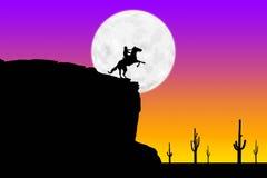De Ruiter van de zonsondergang en Maan royalty-vrije illustratie