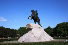 De ruiter van het Koper Een monument aan Tsaar Peter I St Petersburg Stock Foto