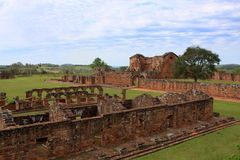 De Ruïnes van de jezuïetopdracht in Trinidad, Paraguay Royalty-vrije Stock Foto