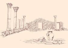 De ruïnes van tempelarcheologie overhandigen getrokken Stock Afbeelding