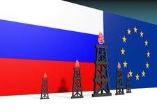De Russische en vlaggen van Europa, de pictogrammen van de gasinstallatie dichtbij hen Stock Foto's