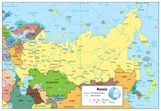 De Russische Federatie detailleerde politieke kaart Stock Afbeelding