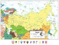 De Russische Federatie detailleerde politieke kaart en vlakke kaartwijzers Stock Foto's
