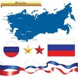 De Russische Geplaatste Kaart en de Symbolen van de Federatie Stock Foto's